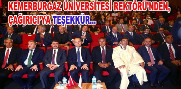 Kemerburgaz Üniversitesi Rektörü'nden Çağırıcı'ya teşekkür