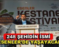 248 şehidin ismi Esenler'de yaşayacak