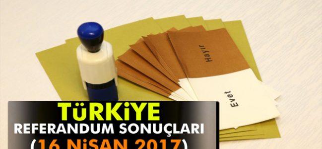 2017 Anayasa Referandumu Sonuçları