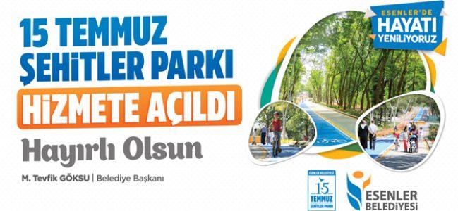 """""""15 Temmuz Şehitler Parkı"""" hizmete açıldı"""