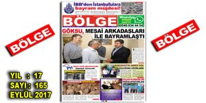"BÖLGE GAZETESİ , YIL:17 , SAYI: 165 , ""EYLÜL-2017"""