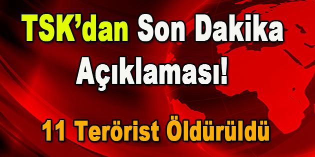 TSK'dan son dakika açıklaması! 11 terörist öldürüldü