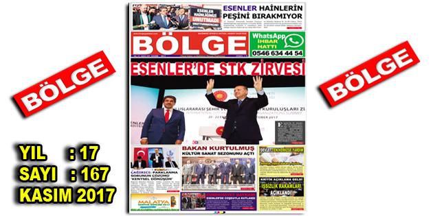 """BÖLGE GAZETESİ , YIL:17 , SAYI: 167 , """"KASIM-2017"""""""