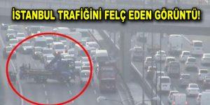 İstanbul trafiği felç oldu! Çekici yolu kapattı