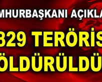 """Erdoğan; """"1829 terörist öldürüldü!"""""""