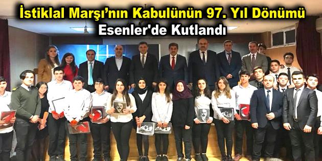 İstiklal Marşı'nın kabulünün 97. Yıl dönümü Esenler'de kutlandı
