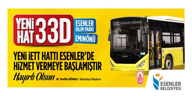 YENİ İETT HATTI ESENLER'DE HİZMET VERMEYE BAŞLADI