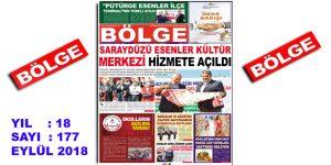 """BÖLGE GAZETESİ , YIL:18 , SAYI: 177 , """"EYLÜL 2018"""" SAYISI ÇIKTI!.."""
