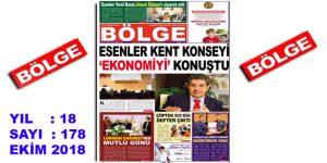 """BÖLGE GAZETESİ , YIL:18 , SAYI: 178 , """"EKİM 2018"""" SAYISI ÇIKTI!.."""
