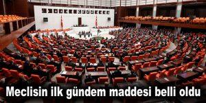 Meclisin ilk gündem maddesi belli oldu