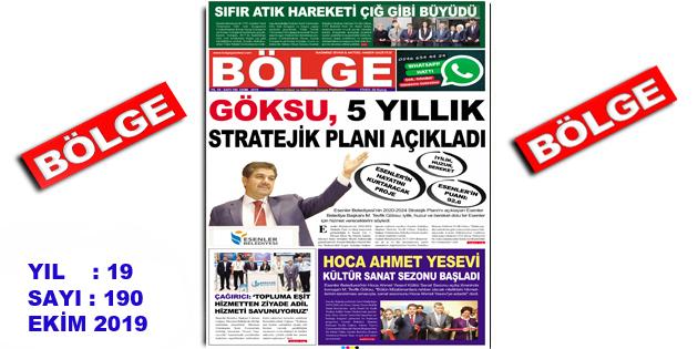 """BÖLGE GAZETESİ , YIL:19 , SAYI: 190 , """"EKİM"""" SAYISI ÇIKTI!.."""