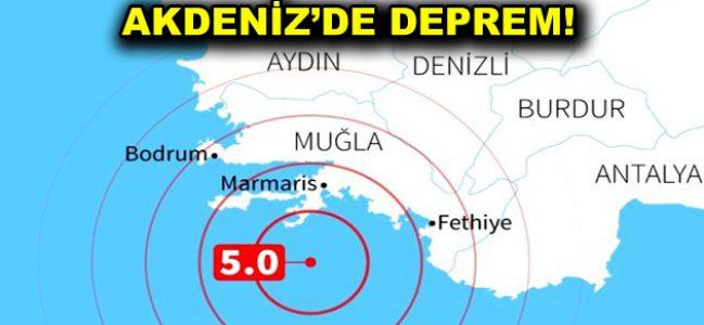 Akdeniz'de 5,1 şiddetinde deprem meydana geldi