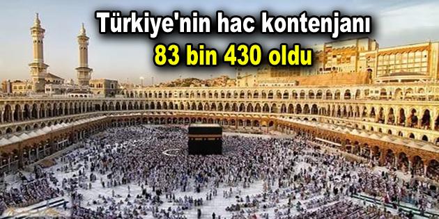 Türkiye'nin hac kontenjanı 83 bin 430 oldu