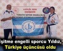 İşitme Engelli sporcu Yıldız, Türkiye üçüncüsü oldu