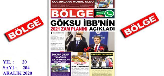 """BÖLGE GAZETESİ , YIL:20 , SAYI: 204 , """"ARALIK"""" SAYISI ÇIKTI!.."""