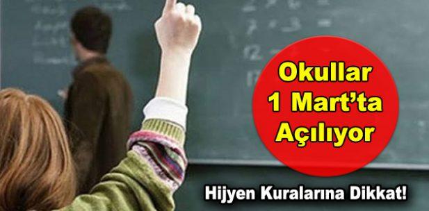 Okullar 1 Mart'ta açılıyor