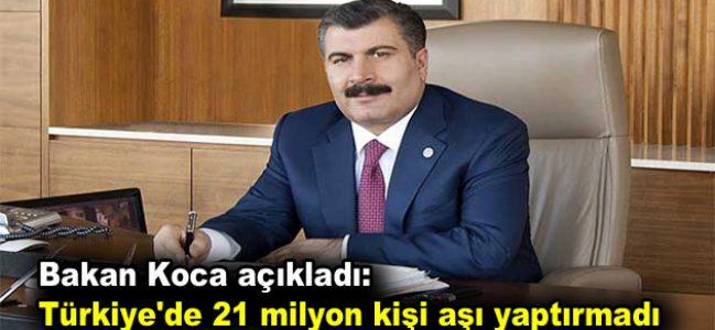 Türkiye'de 21 milyon kişi aşı yaptırmadı
