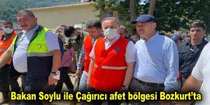Bakan Soylu ile Çağırıcı afet bölgesi Bozkurt'ta